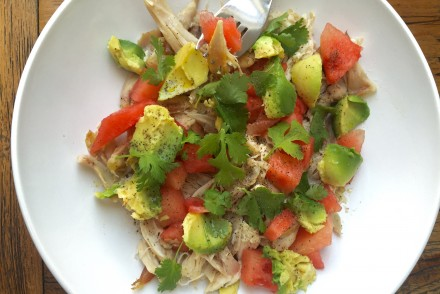 Hähnchen Avocado Salat mit Wassermelone