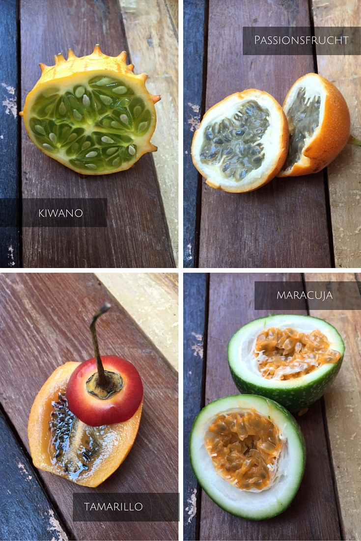 Kiwano, Maracuja, Tamarillo und Passionsfrucht