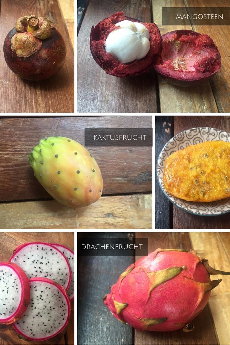 Mangosteen Kaktusfrucht und Drachenfrucht