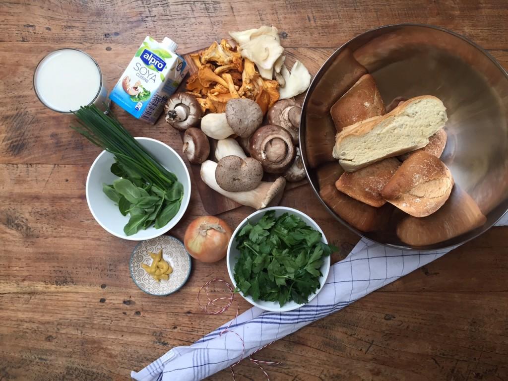 Zutaten vegane Rahmschwammerl und Serviettenknödel